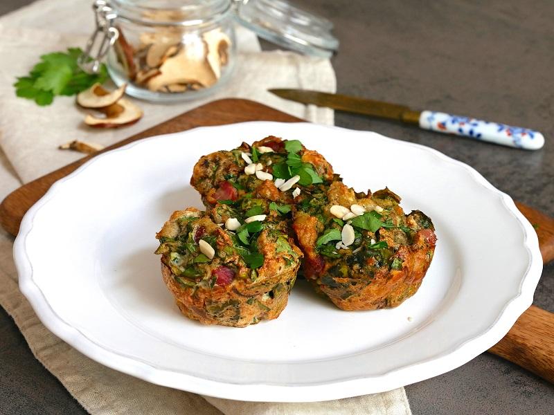 Nádivkové muffiny se špenátem a houbami