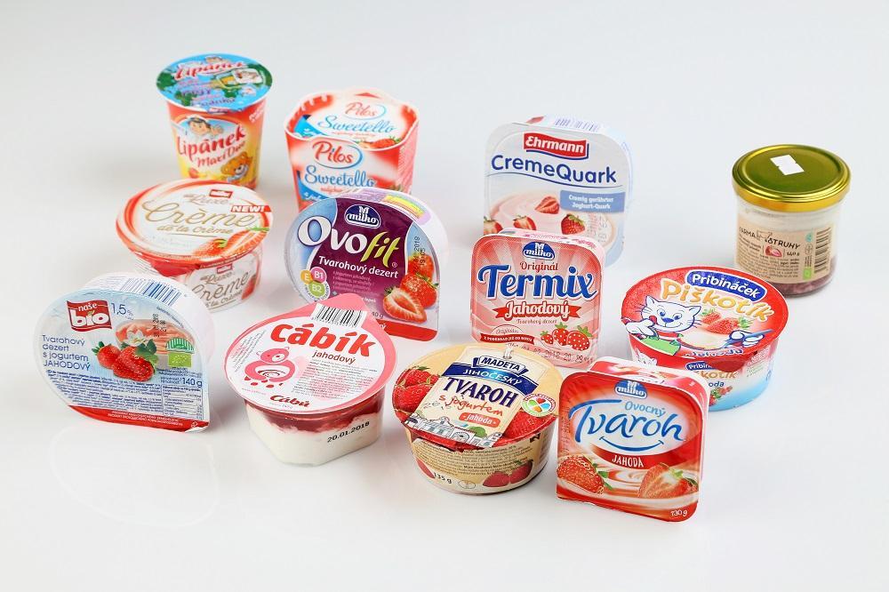Jahodové tvarohové dezerty. Doporučení  výrobcům: Uberte cukr