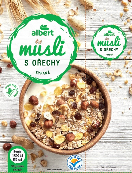 Albert Müsli sypané s ořechy 1 kg