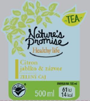 Zelený čaj Citron, jablko & zázvor (Nature´s Promise) 500 ml