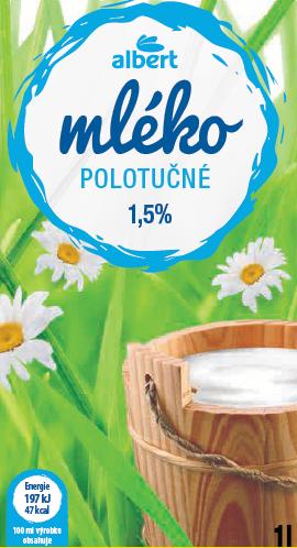 Mléko trvanlivé 1,5%, Albert 1l