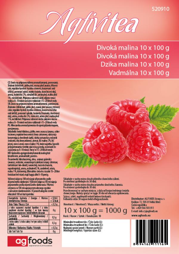 Čaj Agtivitea Divoká Malina, 10 x 100 g