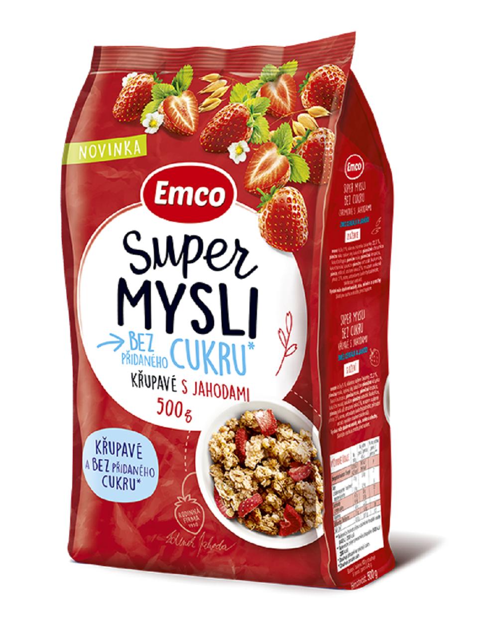Super Mysli bez přidaného cukru křupavé s jahodami 500 g
