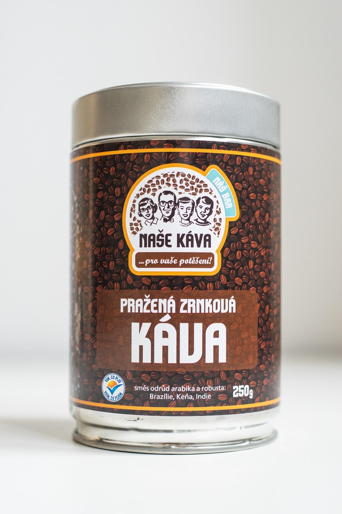 Naše káva - Pražená zrnková káva, dóza 250 g