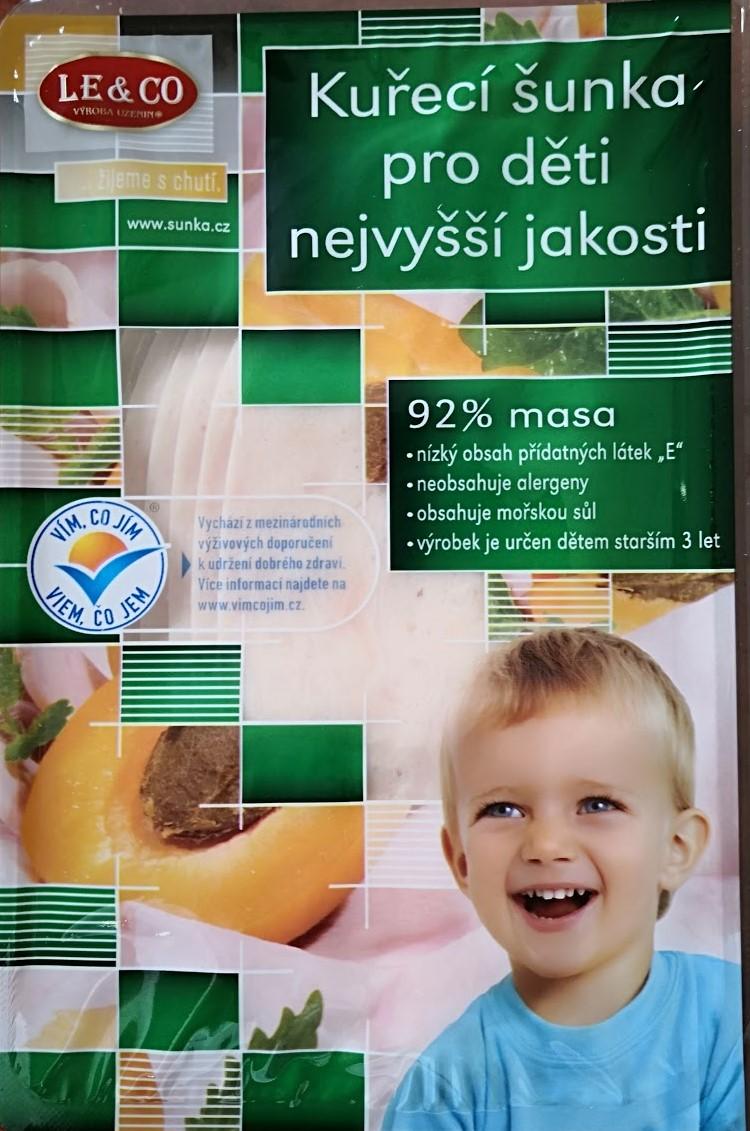 Kuřecí šunka nejvyšší jakosti pro děti krájená 100 g  LE & CO
