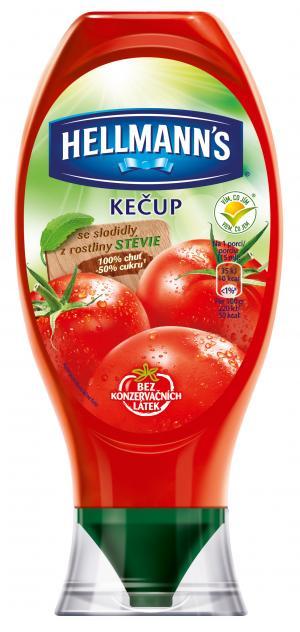 Hellmann´s Kečup jemný se sladidly z rostliny stévie, se sníženým obsahem cukru. 450 g